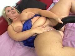 Chubby fucking huge dildo