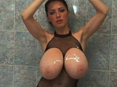 Immense jugs at shower