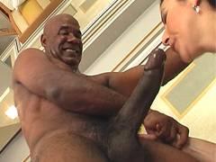 Huge dick fucks hairy cunt