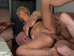 Mature blonde gets pumped