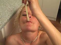 Hot slut eating cum